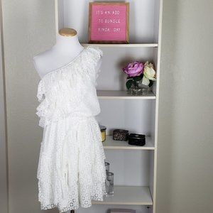 Ivory One Shoulder Ruffle Tiered Dress SZ M